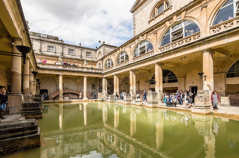 Interior of The Roman Baths complex in the English city of Bath. The house is a well-preserved Roman site for public bathing photo