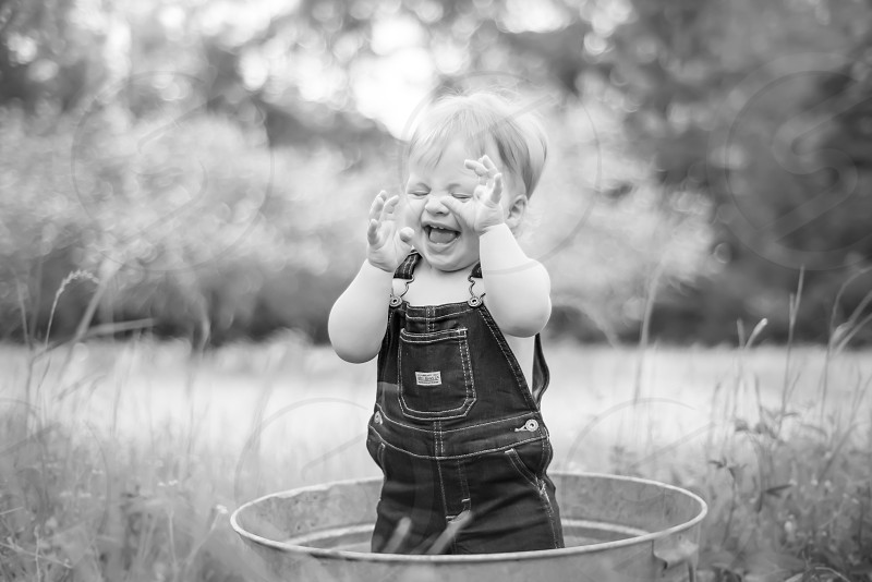 Children child black and white vintage laughing toddler happy handsome fun photo