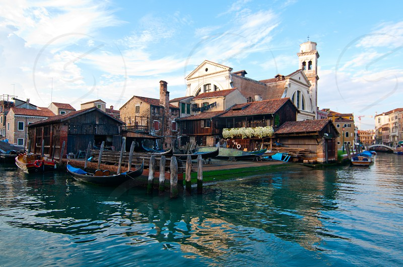 "San trovaso ""squero "" in Venice Italy is the place where gondolas and other boat are build and repaired photo"