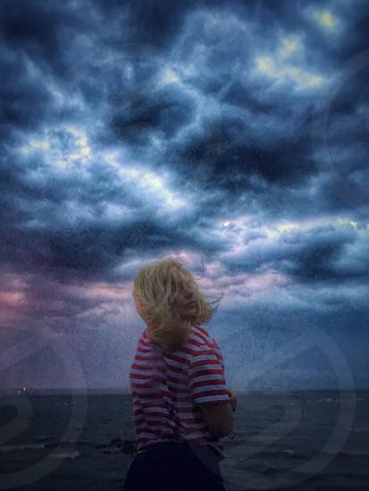 Dramatic sky women rain mood  photo
