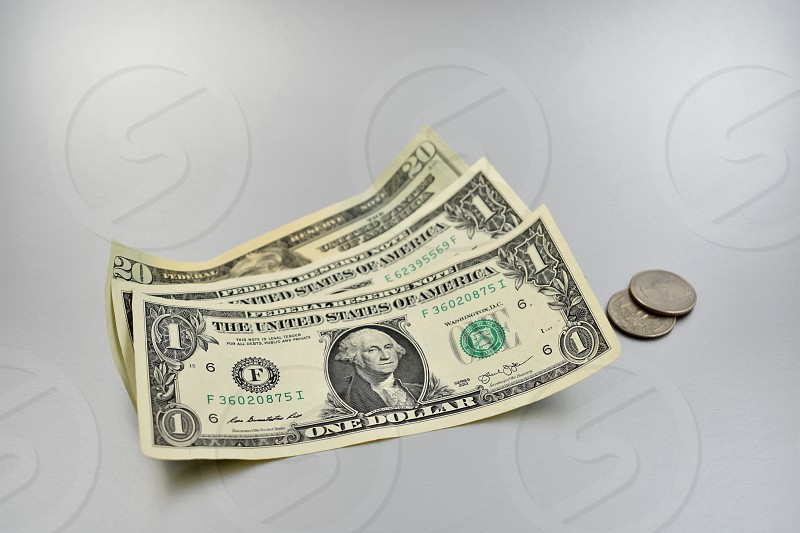 American dollar. Paper banknotes on a silver background. US paper bills photo