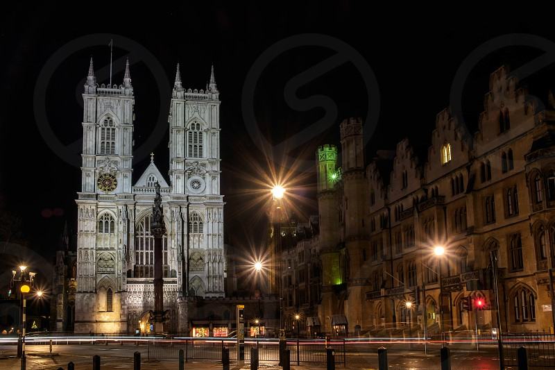 View of Westminster Abbey at Nighttime photo