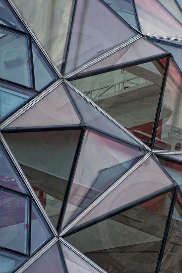 Prysmatic glass window building detail photo