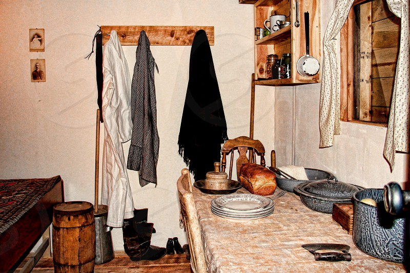 Interior of a rustic country kitchen photo