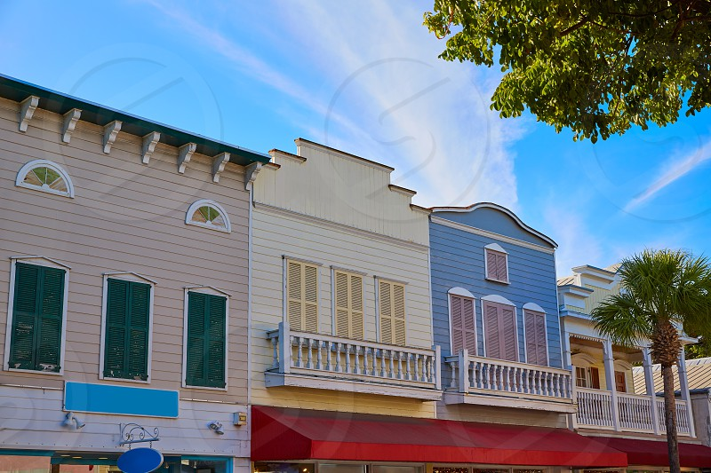 Key west downtown street houses facades in Florida USA photo