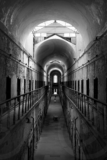 Eastern state penitentiary prison jail black and white photo