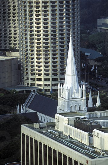 a church in the skyline at the Singapore River and Marina Bay in the city of Singapore in Southeastasia. photo