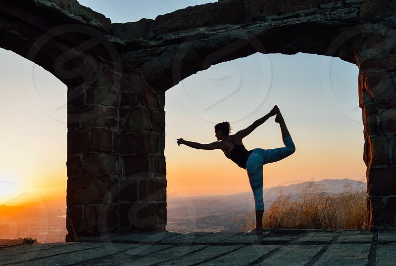 yoga woman girl exercise meditation sunset sun pose photo