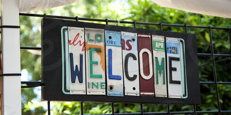 Welcome sign made from license plates photo