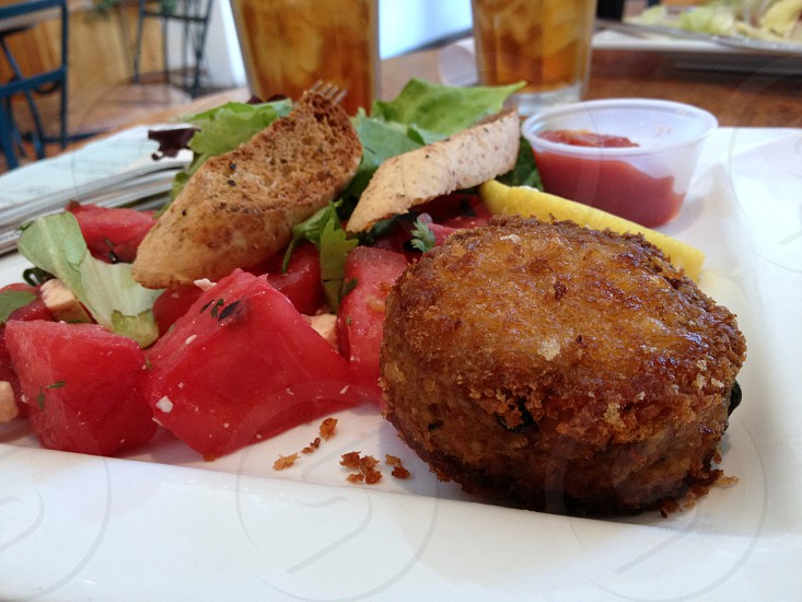 Crab cake and watermelon salad photo