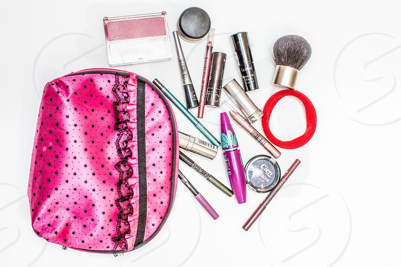 Pink Makeup Bag And Cosmetics photo