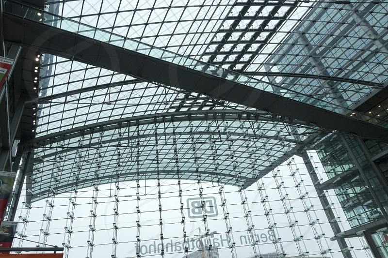 Glass front of the Berlin Hauptbahnhof. photo