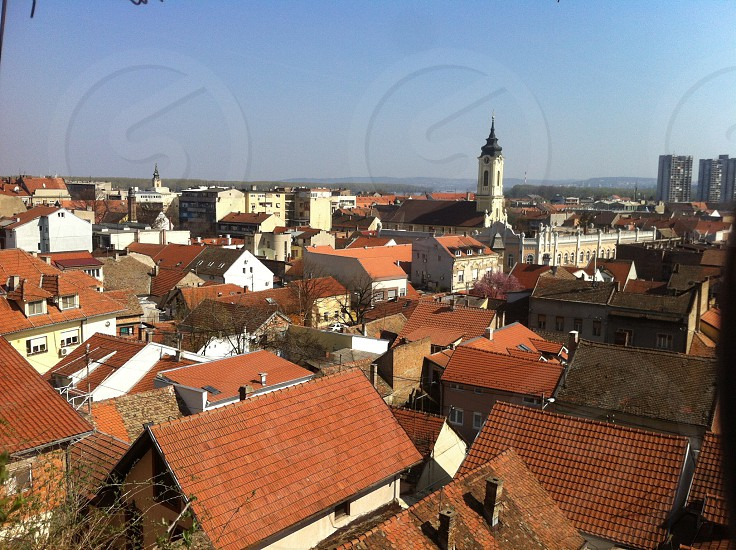 City cityscape town old roof church buildings architecture Zemun Belgrade Serbia Europe  photo