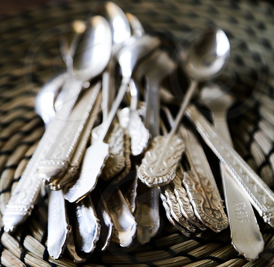 Silverware spoon spoons silver background wallpaper ornament  pattern eating shinyshiningbusiness auction  vintage  photo