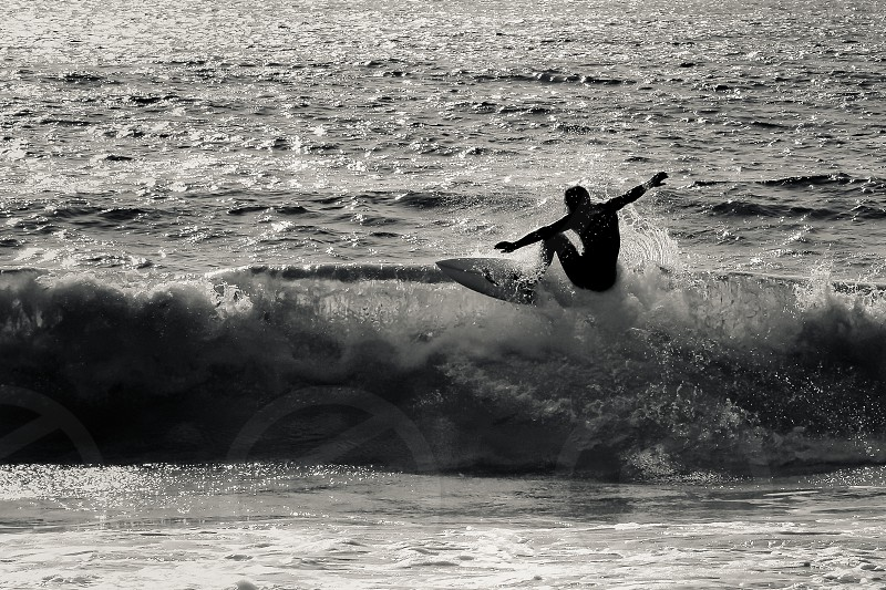 surfer mono b&w silhouette wave sea photo