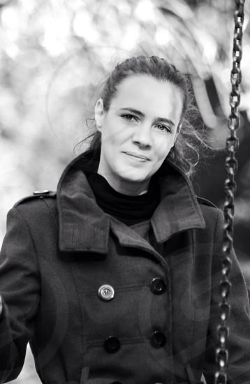 woman wearing a black pea coat photo