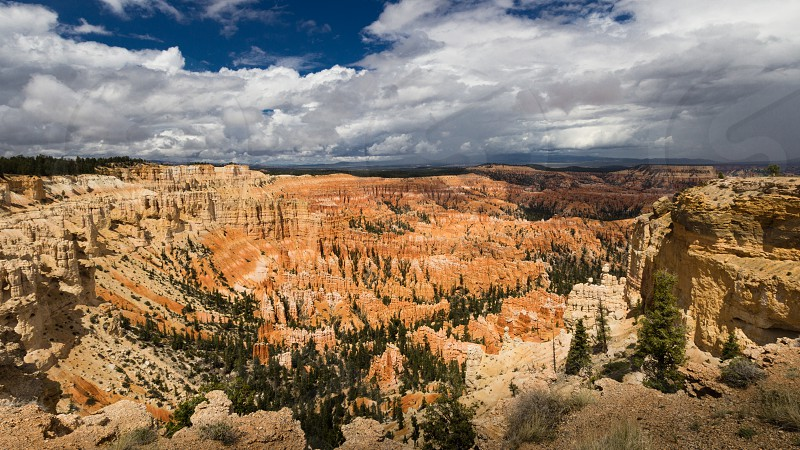 Wide Shot Of Inspiration Point in Bryce Canyon national Park Utah USA photo