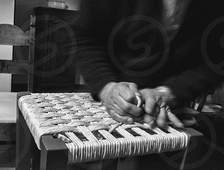 Hands b/w working artigianal photo