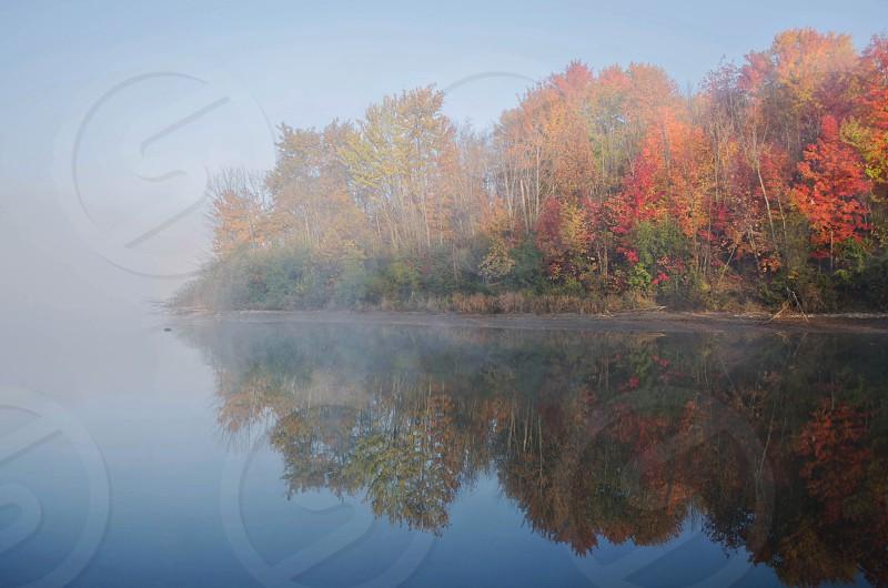 Lake autumn water leaves fall  photo