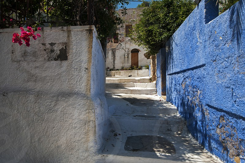 A Blue Wall in Agia Marina Leros. photo