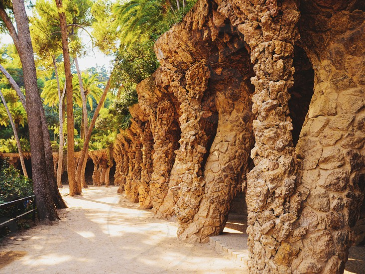 Stone walkway in the Park Guell in Barcelona Spain. photo