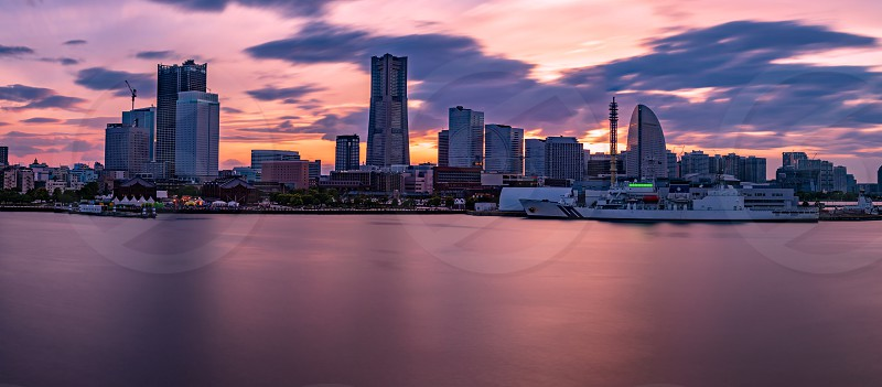 YOKOHAMA JAPAN 6 may 2019 The sunset view of the Yokohama Minato Mirai 21 area. photo