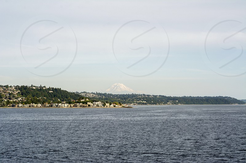 Seattle mt Rainer ocean water mountains photo