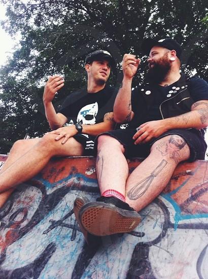 friends beard tattoo art skate shots drinks fun summer  photo