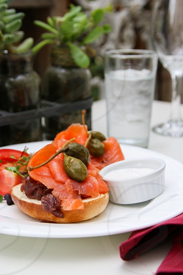 Bagel and salmon photo