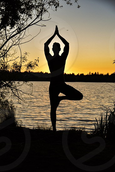Yoga pose sunset photo