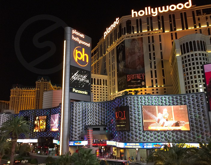 Outdoor night horizontal landscape colour colourful bright vivid vibrant neon lights glow glowing twinkle twinkling Strip Las Vegas LV Nevada NV Planet Hollywood architecture building resort casino hotel hotels holiday summer desert US USA United States America North America Travel tourist tourism wanderlust  photo