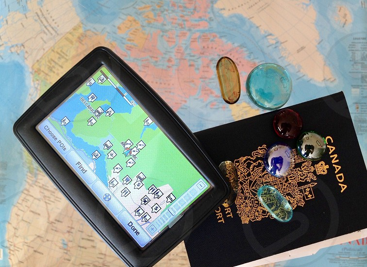 Map Canada east gps passport travel vacation flat lay from above North America guide photo