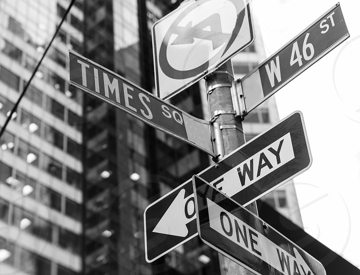 Times Square signs & W 46 st New York daylight US photo