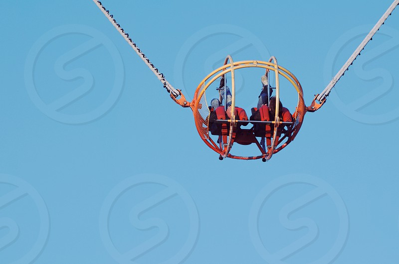 Theme Park Catapult Slingshot Cage Closeup with Clear Blue Sky photo