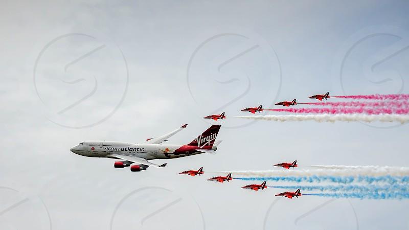 Virgin Atlantic Boeing 747-400 and Red Arrows Aerial Display at Biggin Hill Airshow photo