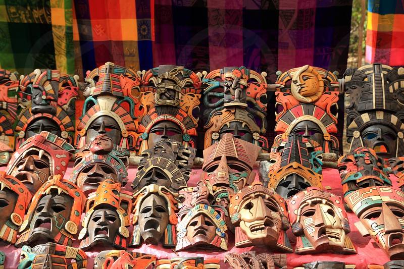 Colorful Mayan handcraft masks indian culture in Jungle  photo