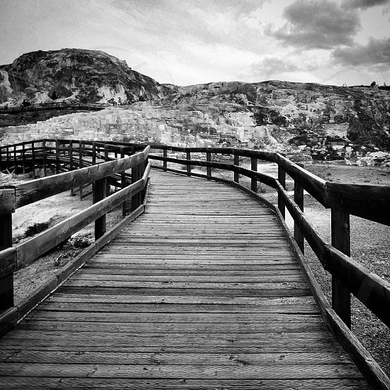 yellowstonemammoth springsmammoth hot springsblack and whitepathsidewalksolitudenatureplank photo