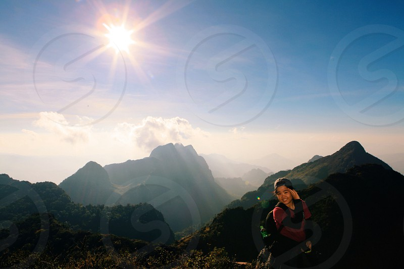 Happy trekking on the top of mountain photo