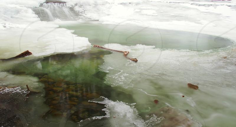 Winter. Snow. Ice. Waterfall. Pool.  photo