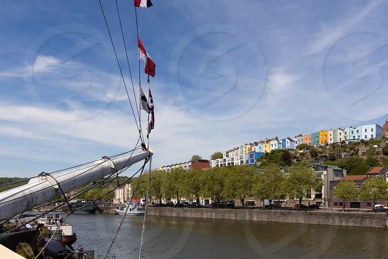 BRISTOL UK - MAY 14 : View of colourful buildings from the SS Great Britain in dry dock in Bristol on May 14 2019 photo