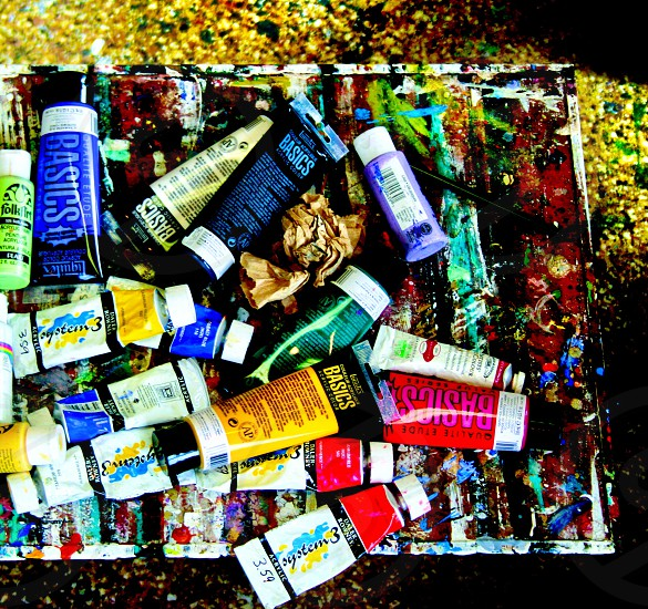 Painter's workspace paint paint brush photo