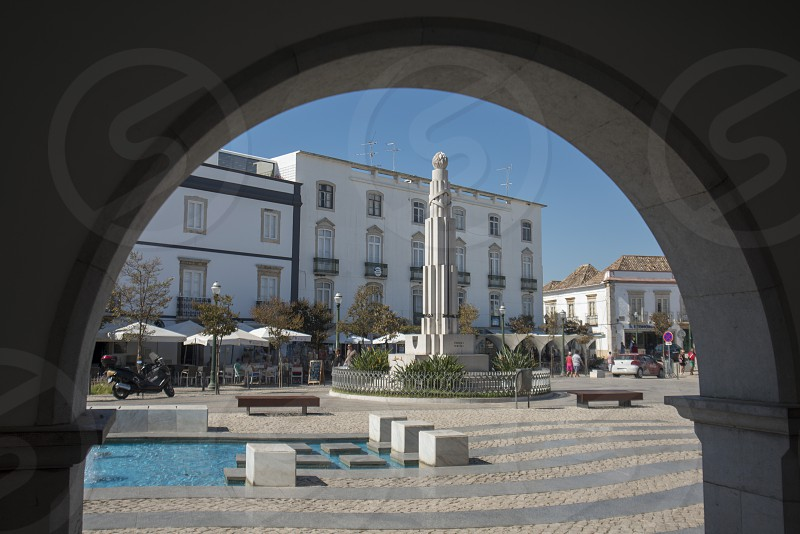 the parca da republica in the old town of Tavira at the east Algarve in the south of Portugal in Europe. photo