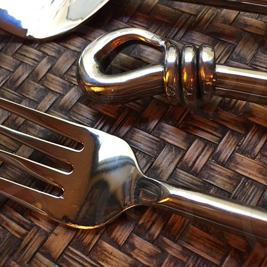 stainless steel metal cutlery twisted bamboo fork photo
