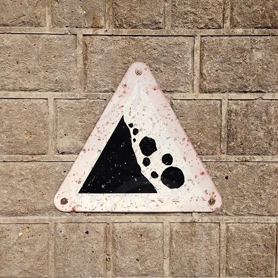 Rock fall warning Brighton photo