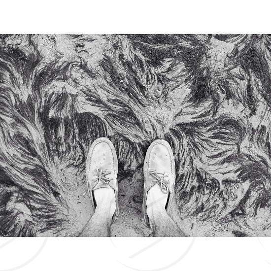 man wearing boat shoes standing on sand grayscale photography photo