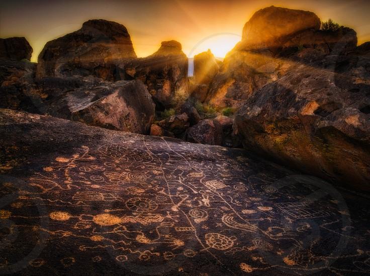 Petroglyphs near Bishop California photo
