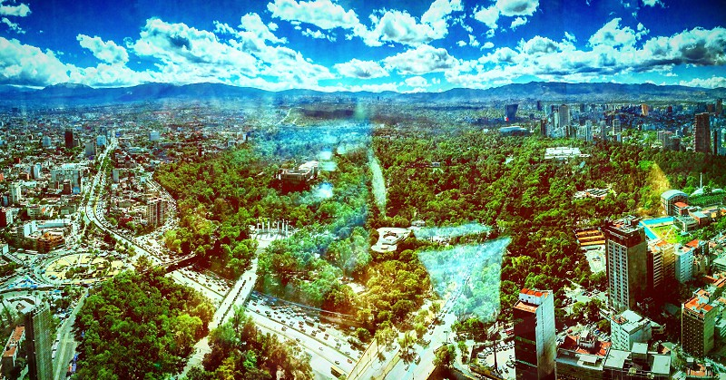 Mexico city city life urban art urban view panoramic woods green photo