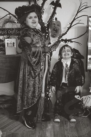 Child witch Hocus Pocus halloween autumn siblings photo