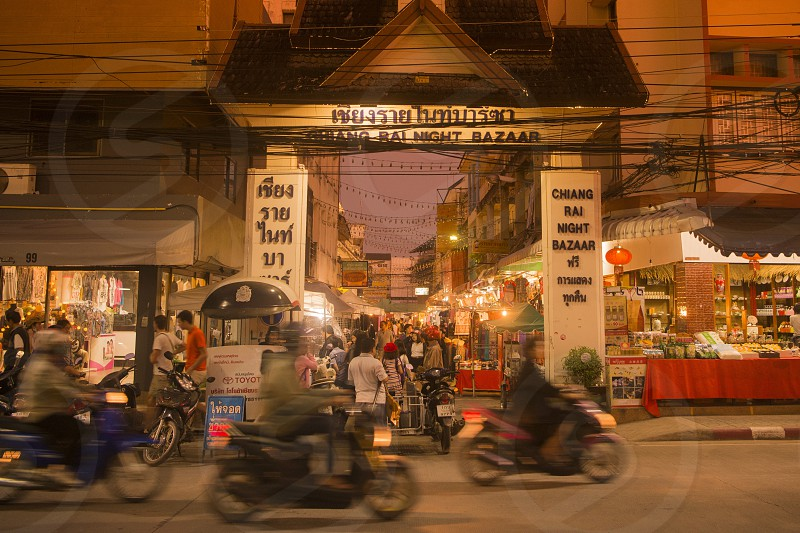 the night bazaar or night market in the city Chiang Rai in North Thailand. photo