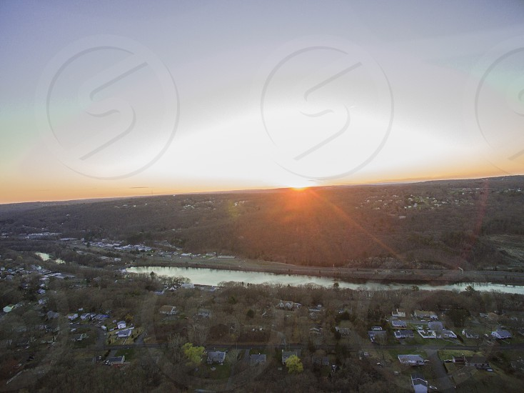 aerial view of town during sunrise photo